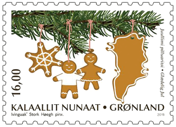 Greenland 2018 Christmas 16kr pine scented stamp