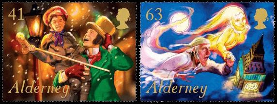Alderney 2018 A Christmas Carol 41p & 63p stamps