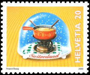 Switzerland 2000 souvenirs snowglobes CHF 0.20 fondue