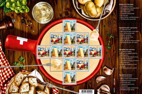 Switzerland 2018 Fondue CHF12 sheetlet