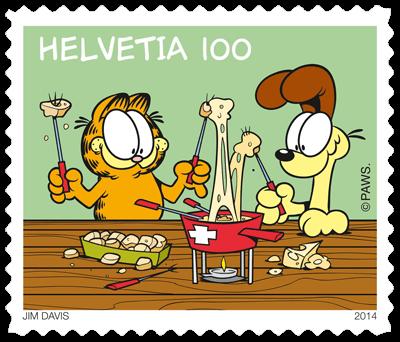Switzerland 2014 Garfield CHF1 Garfield eats fondue