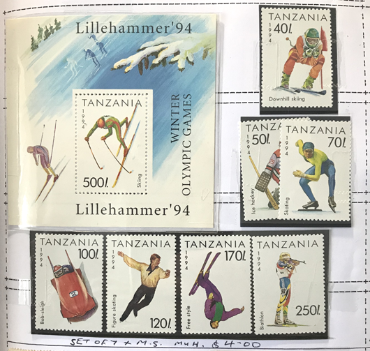 Tanzania 1994 Lillehammer Winter Olympics stamp set and miniature sheet