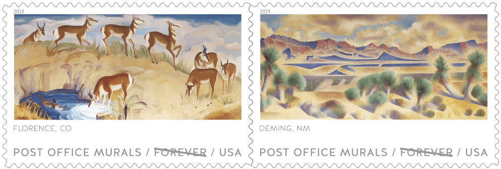 USA 2019 Post Office Murals Florence CO and Deming NM stamps