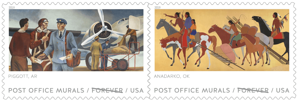 USA 2019 Post Office Murals Piggott AR and Anadarko OK stamps