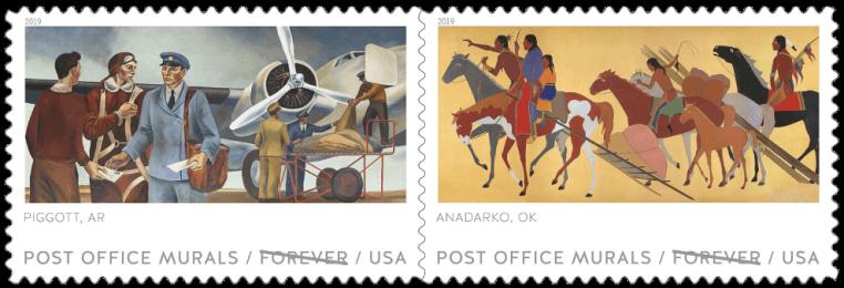 USA 2019 Post Office Murals Piggott AR and Anadarko OK stamps