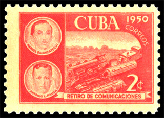 Cuba 1950 Communications Retirement Fund stamp