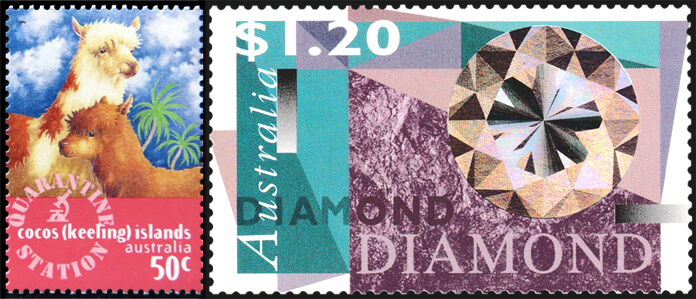 Cocos (Keeling) Islands 1996 Quarantine Station 50c llamas stamp and Australia 1996 $1.20 Diamond hologram stamp