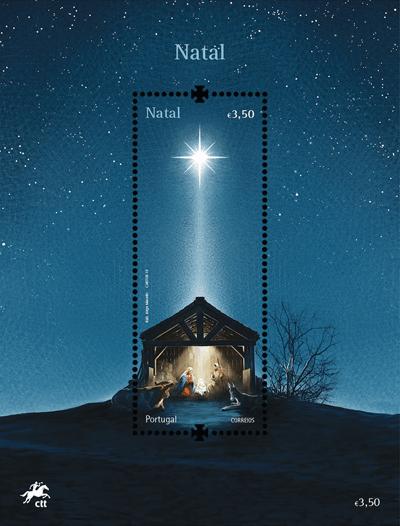 Portugal 2019 Christmas €3.50 nativity LED stamp