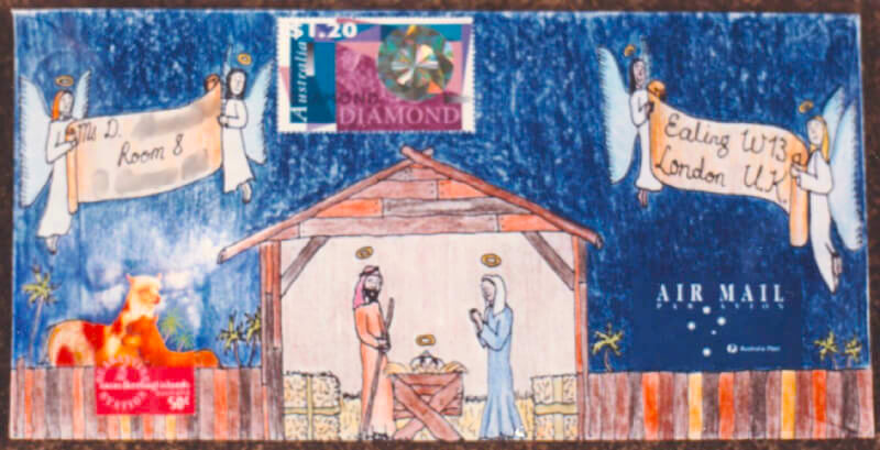 Punk Philatelist Christmas 1996 illustrated cover