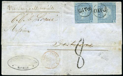 Feldman June 2020 Lot 20125 Mauritius 1859 Lapirot MAURITUS error cover