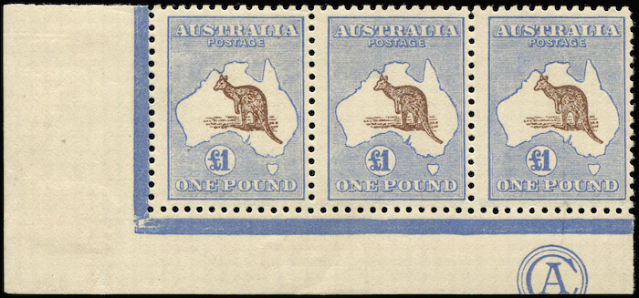 Phoenix Auction #80 Lot 234 Kangaroos - Third Watermark 1 pound Chocolate and Dull Blue