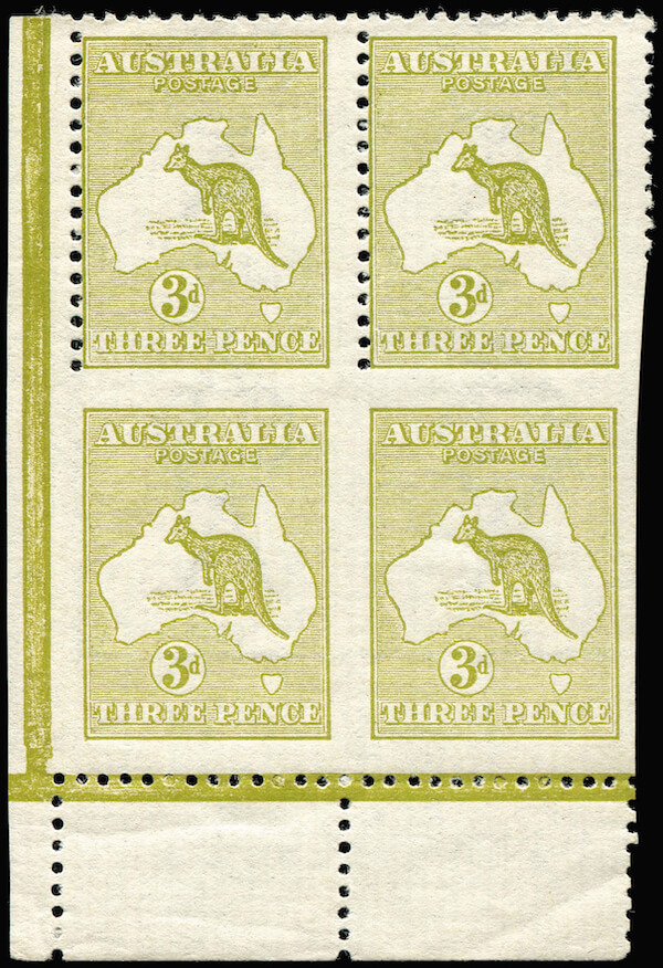 Phoenix Auctions Lot 47 3d Olive Die I Plate 2 bottom left corner block of 4 lower units Imperforate on 3 sides from bottom of sheet