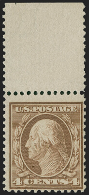 Siegel June 2020 Lot 194 USA 1909 4c George Washington Bluish Paper
