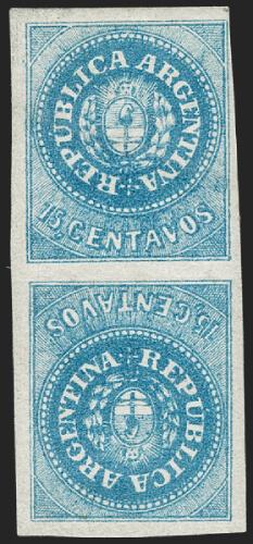 Siegel June 2020 Lot 314 Argentina 1862 15 centavo Escudito tête-bêche pair