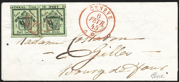 Siegel June 2020 Lot 348 Geneva 1843 5c+5c inverted Double Geneva