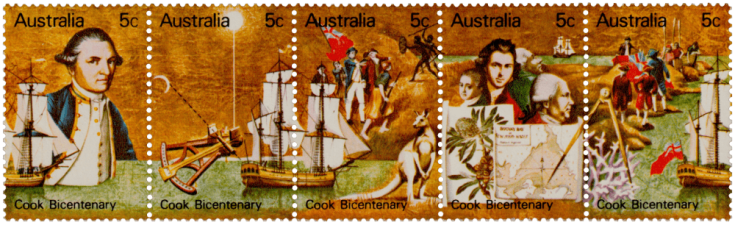 Australia 1970 Captain Cook Bicentenary 5c strip