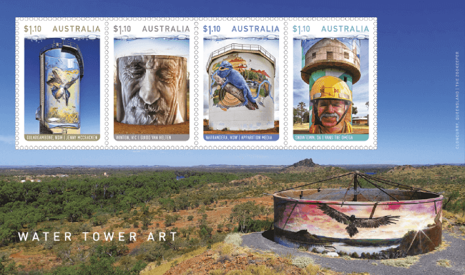 Australia 2020 Water Tower Art $4.40 miniature sheet