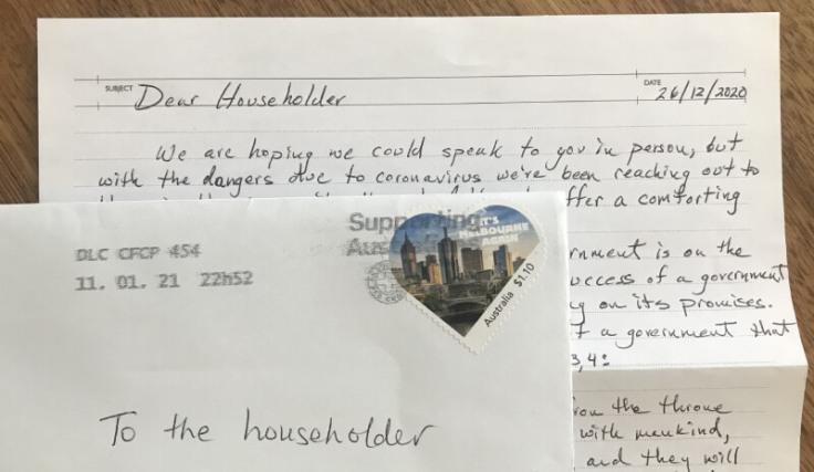 Australia 2021 Melbourne Covid letter