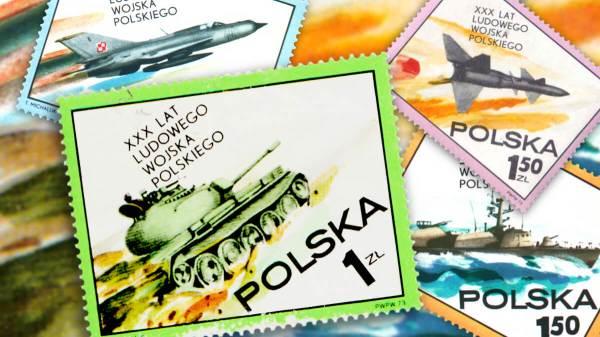 Cold War propaganda Poland tank stamp header