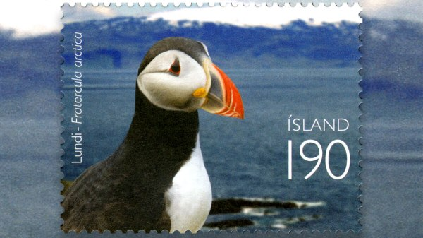 Iceland's stamps are on the rocks. Sad puffin.