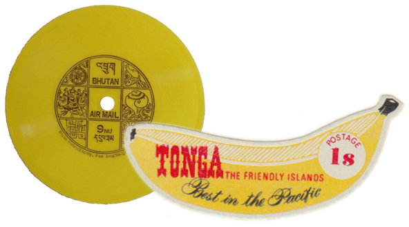 Tonga 1969 banana 1s stamp and Bhutan 1972 vinyl record 9nu stamp