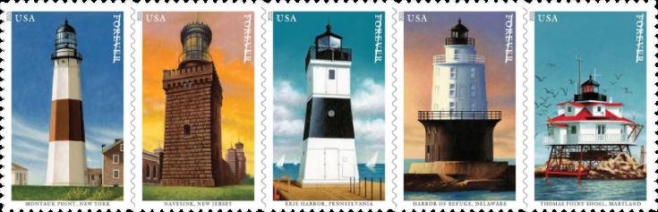 USA 2021 Mid-Atlantic Lighthouses strip