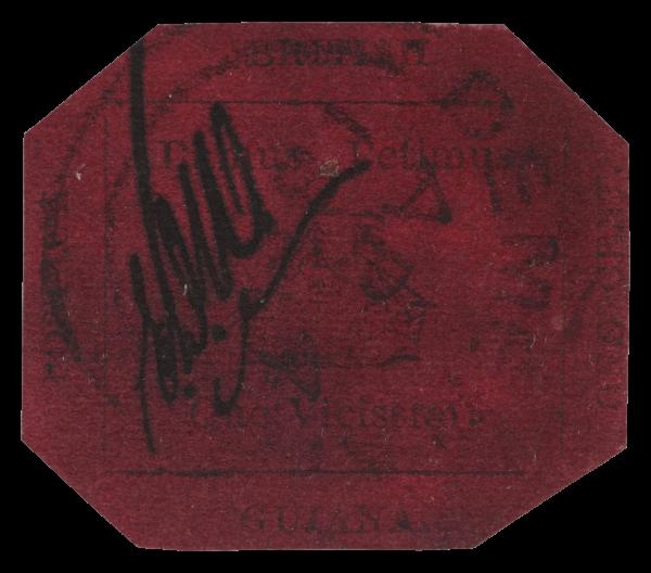 British Guiana 1856 1c magenta stamp face