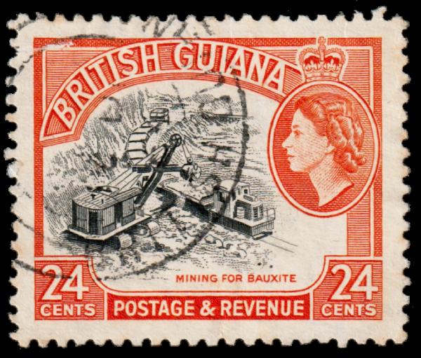 British Guiana 1956 24c Mining for Bauxite stamp