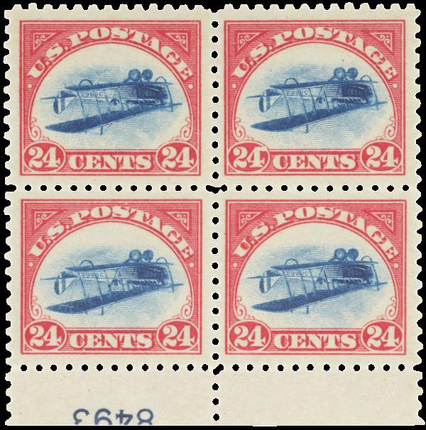 USA 1918 24c Inverted Jenny plate block