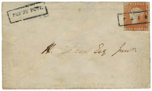Mauritius 1847 1d Post Office Adam ball cover