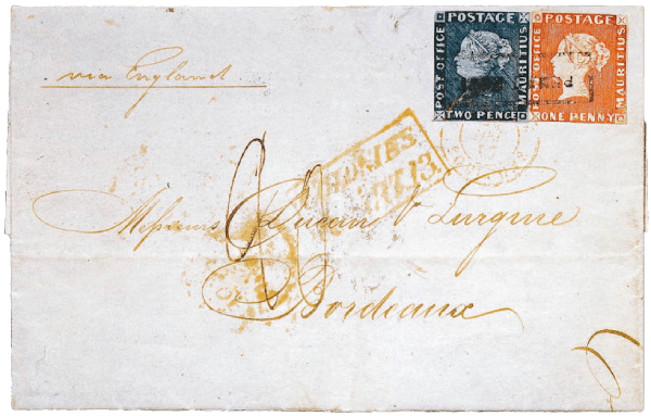 Mauritius 1847 Post Office issues Bordeaux cover