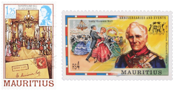 Mauritius 1978 and 1997 Ball of Lady Gomm stamps