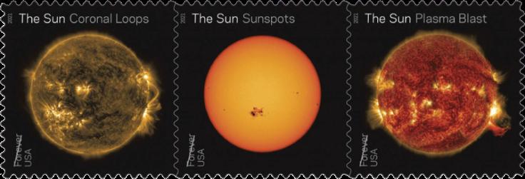 USA 2021 Sun Science stamp strip Coronal Loops Sunspots Plasma Blast