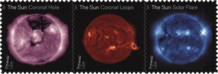 USA 2021 Sun Science Forever stamp strip Coronal Hole Coronal Loops Solar Flare