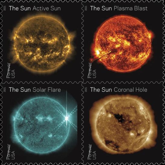 USA 2021 Sun Science Forever stamp block Active Sun Plasma Blast Solar Flare Coronal Hole